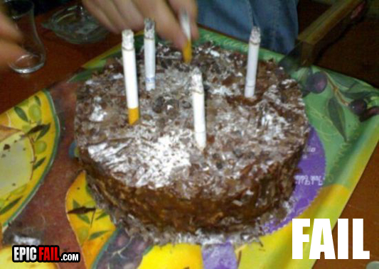 Birthday Cake Fail Candle Cigarettes