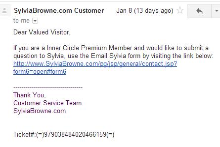 Sylvia Browne auto reply