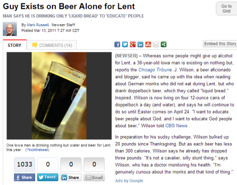 beer for lent
