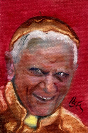 Dan Lacey's painting of then-Cardinal Ratzinger wearing pancake vestments