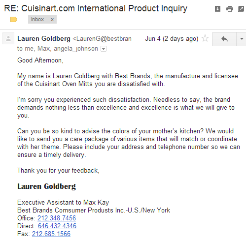 Cuisinart reply from LG to LB