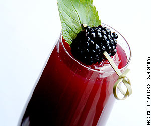 Ingredients: - 5 oz Procescco - 2 oz blackberry puree - 1 oz creme du mure Garnish: whole blackberry and mint leaf Pour in the blackberry puree and creme du mure into a champagne flute. Top of with processco. Finish with a mint leaf and whole blackberry garnish. (Cocktail created by Brian McGrory)