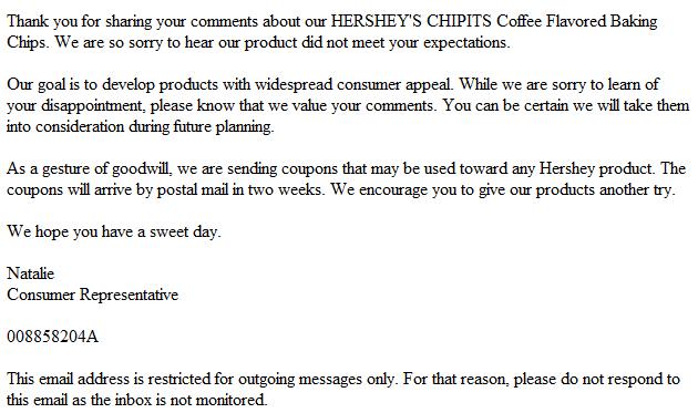 Hershey's response