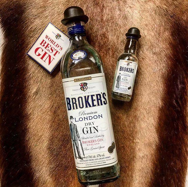 Broker's Gin on possibly bearskin rug OMG