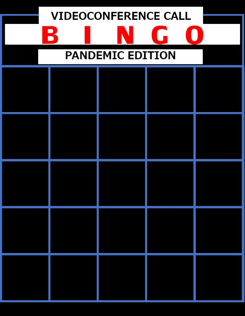 C2024 Videoconference Call Bingo - Pandemic Edition
